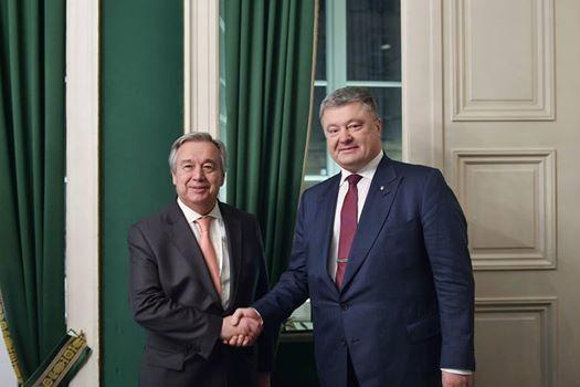 Порошенко обсудил с генсеком ООН размещение миротворцев на Донбассе