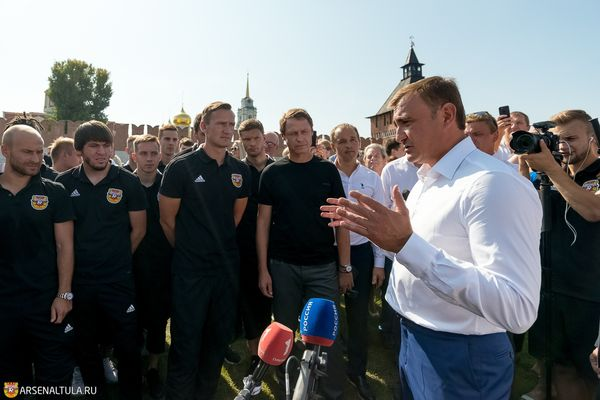 Алексей Дюмин напутствовал тульский «Арсенал» на Казанской набережной (+видео)